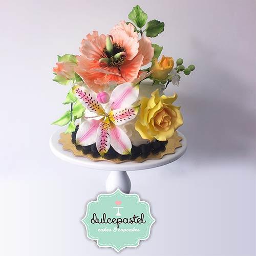 torta flores azucar envigado medellin dulcepastel