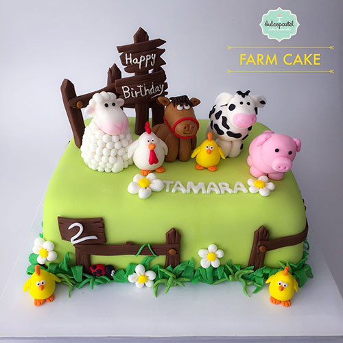 torta animales granja medellin dulcepastel