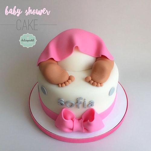 torta baby shower niña medellin dulcepastel