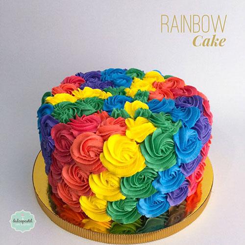 torta flores arco iris medellin dulcepastel