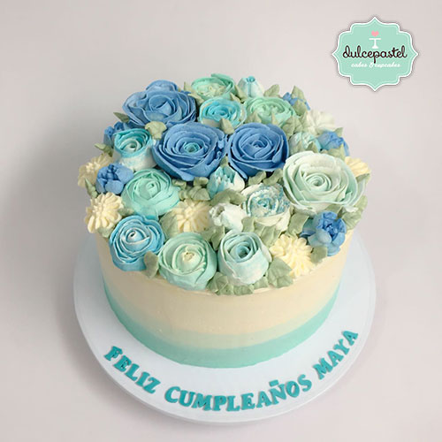 torta flores crema medellin dulcepastel