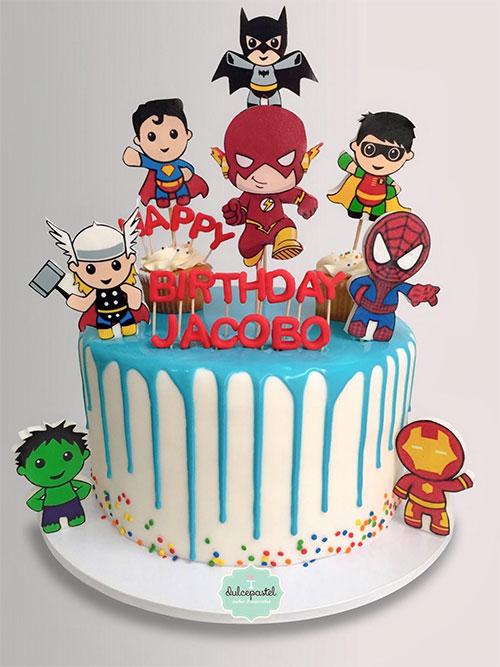 torta superheroes bebes medellin dulcepastel