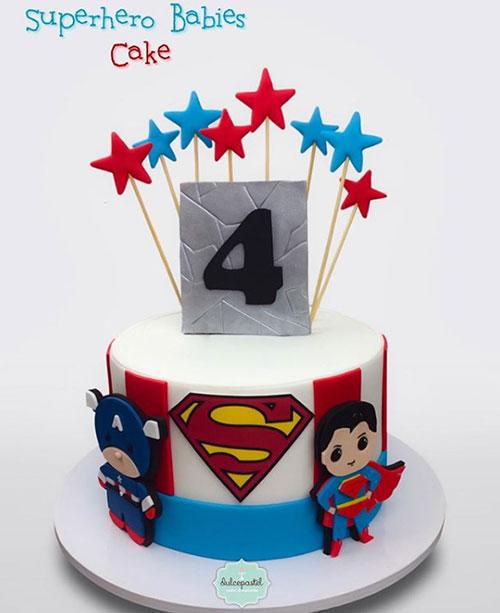 torta superhéroes babies dulcepastel